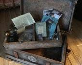 Custom made artisan handmade  dollhouse steamer trunk 1/12 th scale