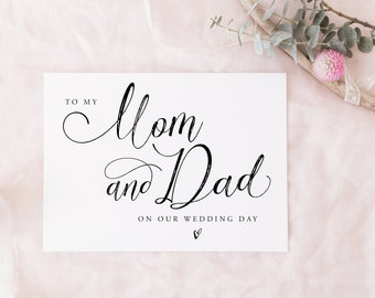 Printable To My Mom & Dad Card, Mum and Dad Instant download | wedding party card, bridal party card digital download, on my wedding day
