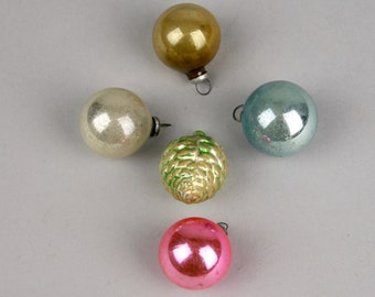 Five Small Feather Tree Christmas Ornaments, Four Round and One Pinecone