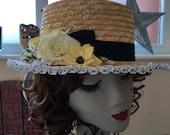 Pretty spring Straw Boater lemon black white polka dot ribbon flower trim Edwardian Victorian