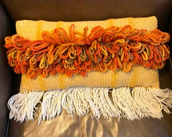 Vintage Retro Boho Woven Lumbar Throw Pillow Fiber Art Yarn Citrus Orange Golden Mustard Yellow Off White Fringe Jungalow Bohemian Style