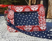 ID Wallet, Keychain Wallet, ID Holder, Zip ID Wallet, Optional Wrist Strap, Red and White Floral, Navy and White Stars