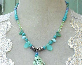 Very Pretty Necklace with Beads in Shades of Aqua and Pale Green