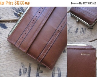 SALE 60s Brown leather cowhide wallet with change compartment / Vintage Baronet Fifth Avenue new old stock NOS