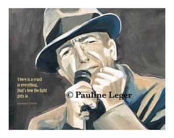 DIGITAL DOWNLOAD ART - printable instant download digital file of Leonard Cohen acrylic painting with lyrics