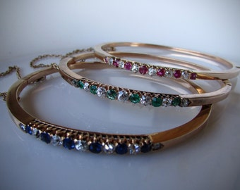 ANTIQUE BANGLE BRACELETS diamond ruby emerald and sapphire