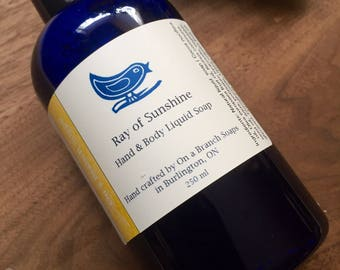Ray of Sunshine Liquid soap. All Natural. Litsea and Lavender.  Essential oils. Body wash. Hand soap.  On a Branch Soaps