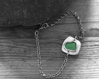 Light green enamel puddle bracelet, made from recycled sterling silver.