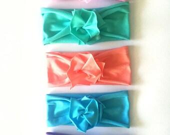 Pastel Parade Bundle // Save on set of 5 // Flower Jersey Headband // Baby Girl Headband // Infant // Newborn // Adult // Floral :FLB