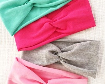 Jersey Stretch Twist Turban // Baby Girl Single Headband // Gathered // infant // adult // gray // pink / purple / white // jersey knit: JGT