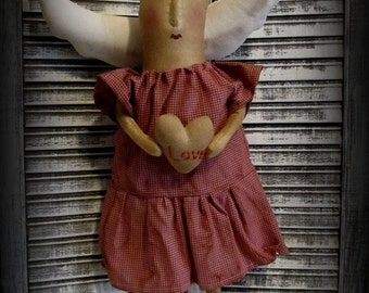 Primitive Valentine Angel Doll W/ Heart Handmade Folk Art Valentine Deco