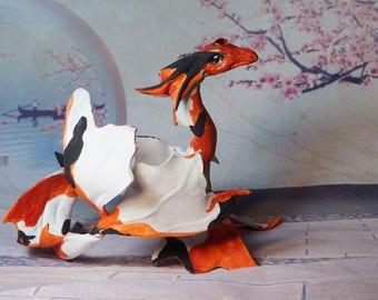 Dragon koi fish full poseable leather sculpture amulet totem magic gift
