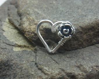 Rose Flower Love Heart Cartilage / Rook / Daith Earring