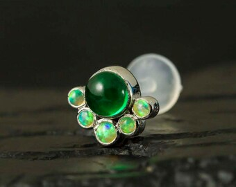 Lime green opal and Emerald CZ cabachon cluster push in 16g bio flexible tragus / cartilage / conch ear piercing