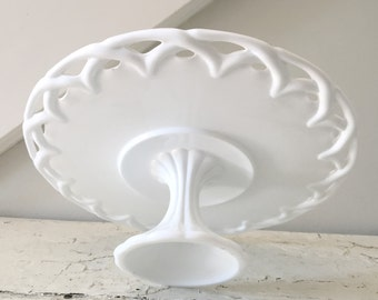 Vintage Milk Glass Cake Stand Pedestal White Glass Lace Lattice Colony Lace