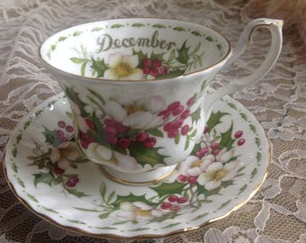 Royal Albert December Flower of the month Teacup and Saucer