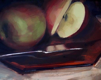 Sliced Apple on Sienna Plate (no.148) Oil Painting Realism Apple Dramatic Dark