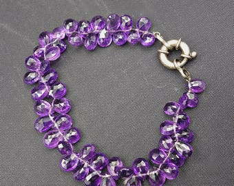 SALE Faceted Amethyst Bracelet, Handmade Bracelet, Amethyst Briolettes, Amethyst Cluster Bracelet,Mother's Day Gift, Now 106.00 Was 145