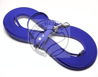 """Royal Blue - Nose Work Light Weight Long Line - 1/2"""" (12mm) wide Beta Biothane - Tacking Line Recall Leash - Choice of hardware and length"""