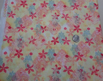 """100% Cotton Yellow Flower Fabric -42"""" x 32""""- Apparel Fabric--Quilting Fabric"""