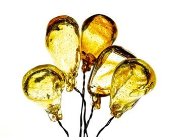 VINTAGE: One Extra Large Old Light Amber Glass Ballon Headpins - Hand Blown Glass Picks - Wired Glass Drops - Grapes - SKU 4-OS 28-00008043