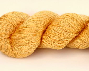 "Kettle Dyed Lace Yarn, BFL and Silk Lace Weight, in ""Buttercup"""