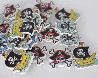"30 PC Painted wood buttons 25mm - Wooden Buttons ,buttons, natural wood buttons ""pirate"" A106"