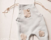 Baby Blue and Cream Patches Newborn Photography Prop Boys Overall Romper