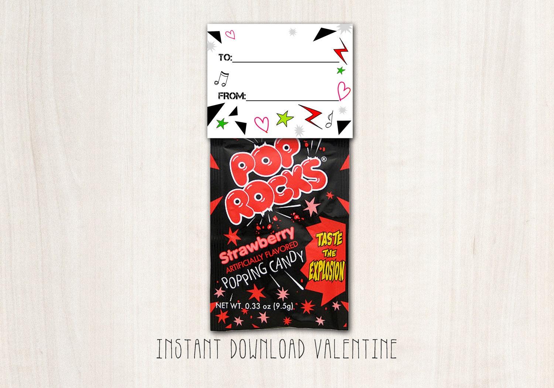 Rock Star Pop Rock Valentines - DIY Print - INSTANT DOWNLOAD