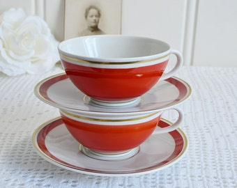 Demitasse cups with saucers, vintage German Kaestner porcelain,dark  orange and gold,  retro kitchenware