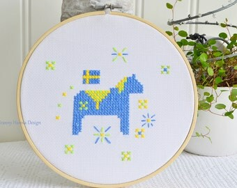 "Swedish Dala horse, framed handmade embroidery, blue and yellow needlepoint cross stitched hoop art , 8 """