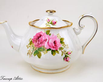 RESERVED FOR MARIE Royal Albert American Beauty Teapot with Pattern on Spout, Full Sized,  ca. 1941-1998