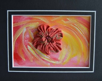 Pink Yellow Orange Watercolor Swirl Stitched Postcard