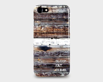 iPhone 7 & iPhone 7 Plus Phone case. Personalised with text a Weathered Wood Design Photographic Print