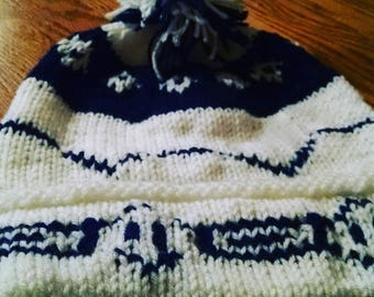 Made to Order Fred and George Winter Hat - White and Navy Pom-Pom Hat