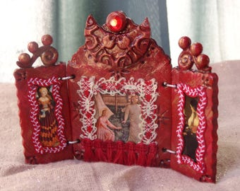 Mary Magdalene Mini Triptych Shrine.  Three Panel Altar.  Travel Shrine.