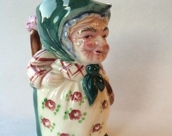 Vintage Toby Figural Cream Pitcher, Old Lady Holding Pitcher, Hand Painted Made In Japan