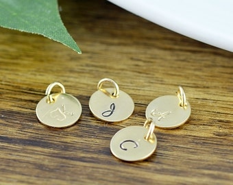 Add On, 14 kt Gold Filled Disc, Initial Disc, Personalized ,Initial Charm, Ala Carte, Hand Stamped Initial, Add On Option, Custom Initial