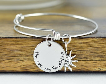 You are my sunshine Bangle Bracelet, Hand Stamped Bangle Bracelet, You are my Sunshine Jewelry, Charm Bracelet, Sunshine Gift