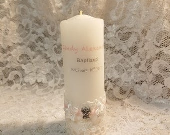 Personalized Baptism Candle white pink pillar candle with rhinestones angel,Communion Candle, Confirmation Candle, Christening,Candle,
