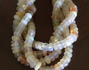 Genuine Natural ETHIOPIAN OPAL Rondelles roundels rainbow colors opalescent opalescence OCTOBER birthstone