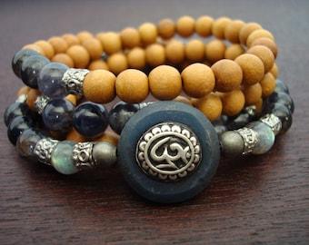 Women's Water Sapphire Om Mala // Iolite, Labradorite, Sandalwood Mala Necklace or Wrap Bracelet // Yoga, Meditation, Jewelry