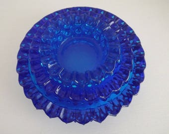 Rare Fenton Hobnail Cobalt Blue Three Nesting Ashtrays Circa 1972, Art Glass, Home Decor