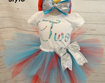 birthday outfit,FREE SHIPPING,cat in the hat,birthday girl,2nd birthday,dr suess outfit,red,blue,silver,girl outfit,birthday set,cat in hat,