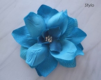 Turqouise Fabric Flower Hair Clip
