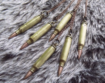 REDUCED // bullet necklaces // .223 brass + copper bullet pendants. copper cable chain.