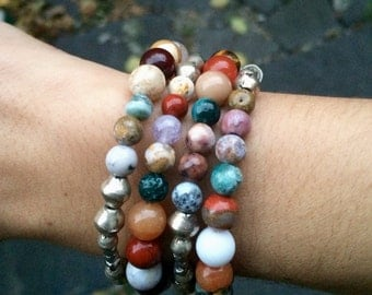 Colorful Gemstone Wrap Bracelet in Sunset Tones