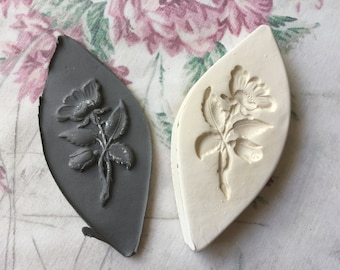 Clay Sprig Stamp Rose Flower Pottery Press Mold Relief Mold or Sprig Mold Bisque Clay Floral Stamp for Ceramic Decoration and Texture