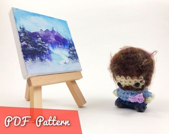 PDF Pattern for Crocheted Bob Ross Amigurumi Kawaii Keychain Miniature Doll Plush