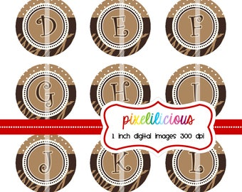 Bottle Cap Image Sheet - Instant Download - 103 Chocolate Brown and Ivory -  1 Inch Digital Collage - Buy 2 Get 1 Free